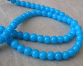 Light Blue Glass 4mm Round Beads- 15 inch strand