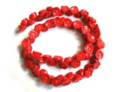 Red Sea Bamboo Coral Carved Flower Loose Beads - 16 Inch Strand