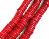 Red Sea Bamboo Coral Center Drilled Disc Beads - 16 Inch Strand