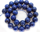 Gorgeous Lapis Lazuli Smooth Round Beads 14mm - 16 Inch Strand