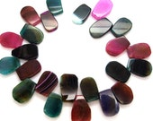 Beautiful Freeform Multicolor Agate Slabs Slices - 15.5 Inch strand