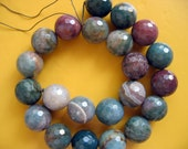 Beautiful Large Indian Agate Round Faceted Gemstone Beads 18mm