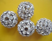 4 Pcs Large Silver Plated Filigree Rhinestone Covered Ball Beads 23mm