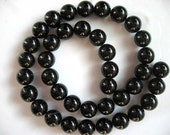 15 Inch Strand Black Agate Round Smooth Beads 10mm