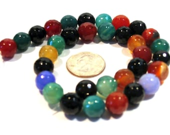 Full Strand Multicolor Agate Faceted Round Beads 12mm