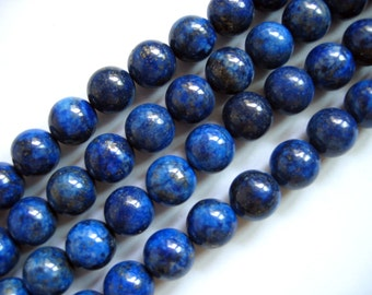 Gorgeous Lapis Lazuli Round Smooth Beads 12mm - 16 Inch Strand