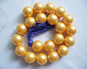 Beautiful 20mm Golden Yellow South Sea Shell Pearl Round Loose Beads