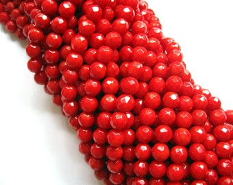 Gorgeous Red Coral 7mm Round Faceted Beads - 16 Inch Strand