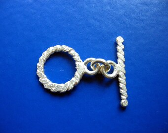 Solid Hand-Made 925 Sterling Silver Twist Toggle Clasp