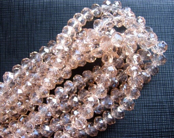 6x8mm Light Salmon Crystal Glass Faceted Rondelle Beads