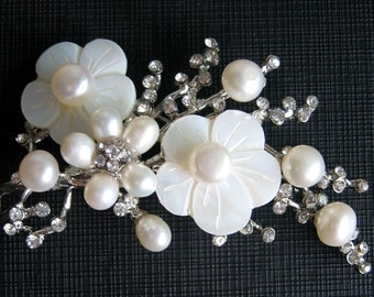 Beautiful Flower Brooch with Creamy Freshwater Pearls, MOP and Rhinestones