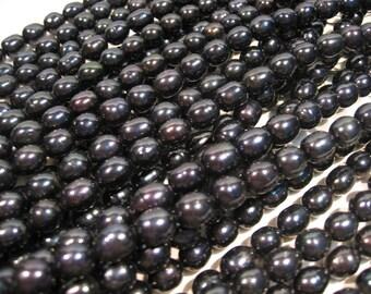 Full Strand Black Blue Freshwater Pearl Rice Shaped