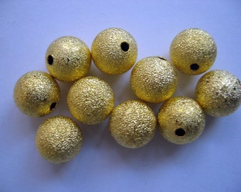 10 Pcs Gorgeous Large Gold Plated Stardust Round Spacer Beads 12MM