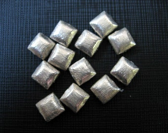 4 Pcs Indian Handmade 925 Sterling Silver Brushed Texture Puffed Square Beads