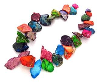Multicolor Variscite Sea Sediment Jasper Freeform Slab Beads