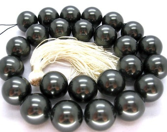 16mm Tahitan Black South Sea Shell Pearl Beads - 16 Inch Strand