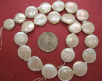 16-17mm High Quality Freshwater White Coin Disc Pearls - 16 Inch Strand