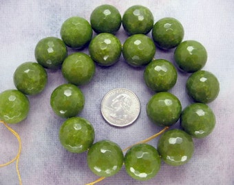 20mm Beautiful Oliver Green Jade Faceted Round Beads - 15.5 Inch Strand