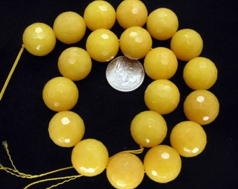 20mm Beautiful Yellow Jade Faceted Round Beads - 15.5 Inch Strand
