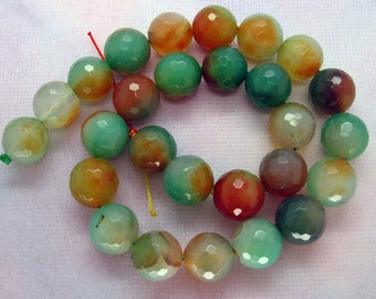 15 Inch Strand Red Green Agate Round Faceted Bead 14mm