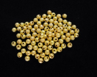 50 Pcs Gorgeous Gold Plated Stardust Round Spacer Beads 4mm