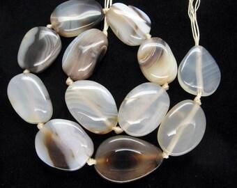 Beautiful Genuine Agate Smooth Freeform Slab Beads - 16 Inch Strand