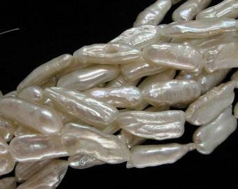 15 Inch Strand White Biwa Stick Freshwater Pearls
