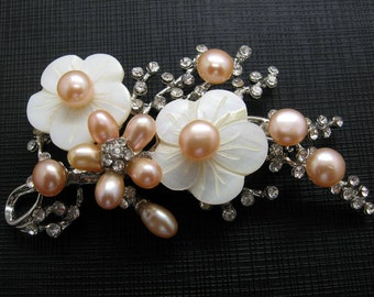 Beautiful Peachy-Pink Freshwater Pearls, MOP and Rhinestones Flower Brooch
