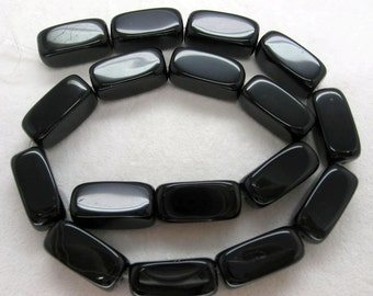 15 Inch Strand Black Agate Smooth Rectangle Nugget Beads