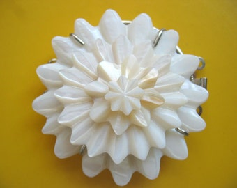 Large Carved White Mother of Pearl Shell Flower Clasp Triple Strands