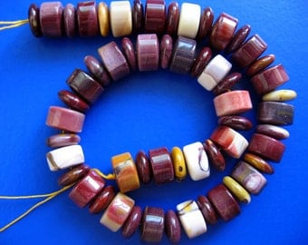 Beautiful Australian Mookaite Polish Wheel/Abacus Beads