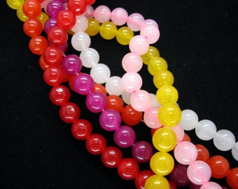 Full Strand Colorful Jade Smooth Round Beads 8mm
