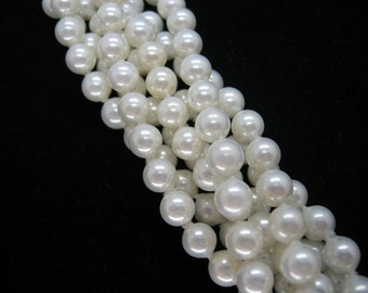 6mm White South Sea Shell Pearl Beads - 16 Inch Strand