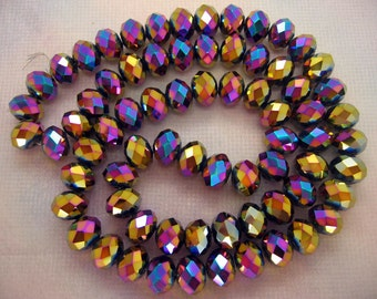 8x10mm Faceted Rainbow Metallic Mixed Color Czech Glass Rondelle Beads