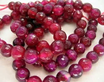 Dark Rose Red Agate Faceted Round Gemstone Beads 8mm