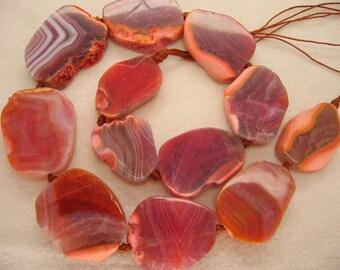 Beautiful Chunky Light Magenta Red Agate Freeform Polished Slab Beads