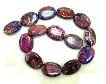 Gorgeous Plum Purple Violet Variscite Sea Sediment Jasper Puffed Oval Beads