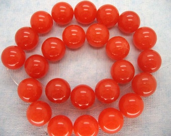 16 Inch Strand Beautiful Orange Jade Smooth Round Beads 16mm