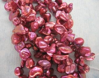 Full Strand Lustrous Magenta Red Keishi Baroque Freshwater Pearl Beads