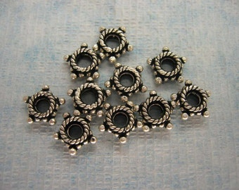 10 Pcs Indian Handmade 925 Sterling Silver Dot Rope Star Spacer Beads