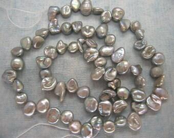 Full Strand Lustrous Grey Keishi Baroque Freshwater Pearl Beads