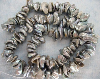 Center Drilled Silver Grey Keishi Cornflake Freshwater Pearls - 15 Inch Strand