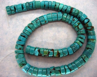 Full Strand Natural Green Cyan Turquoise Rondel Beads