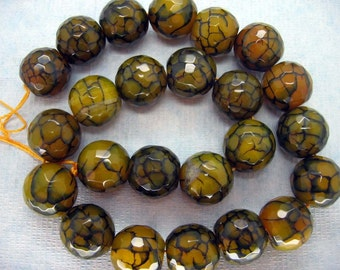 Yellow Black Dragon Veins Agate Faceted Round Beads 16mm