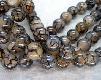 Black White Dragon Veins Agate Smooth Round Beads 12mm