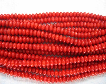 FUll Strand Small Red Sea Bamboo Coral Rondelle Beads 5x3mm