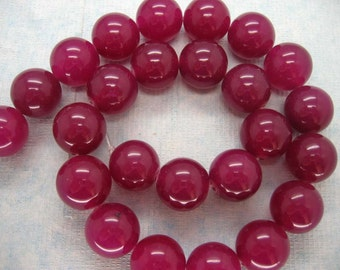 15.5 Inch Strand Gorgeous Rose Red Jade Smooth Round Beads 16mm