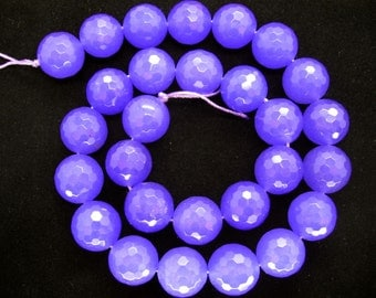 Full Strand Vibrant Medium Purple Jade Faceted Round Beads 14mm