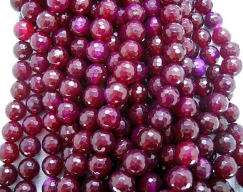 Dark Rose Red Agate Faceted Round Gemstone Beads 10mm