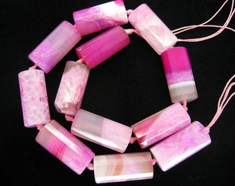 Large  Fuchsia Pink Drusy Agate Quartz Faceted Cylinder Beads 15x30mm - 9 Pcs